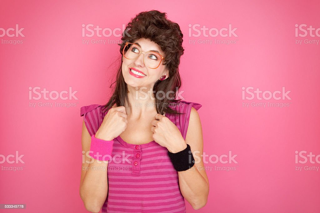 80's Mullet Geek stock photo