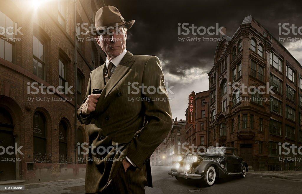1940's noir gangster stock photo