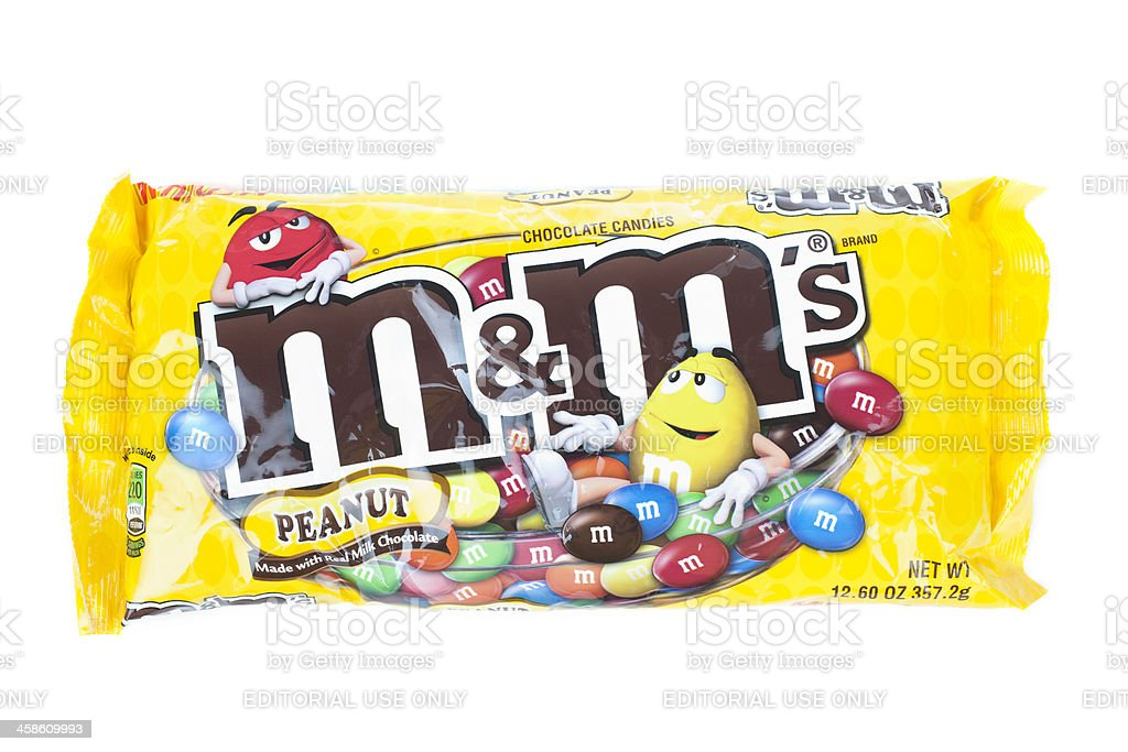 M&M's party bag on an isolated white background. stock photo