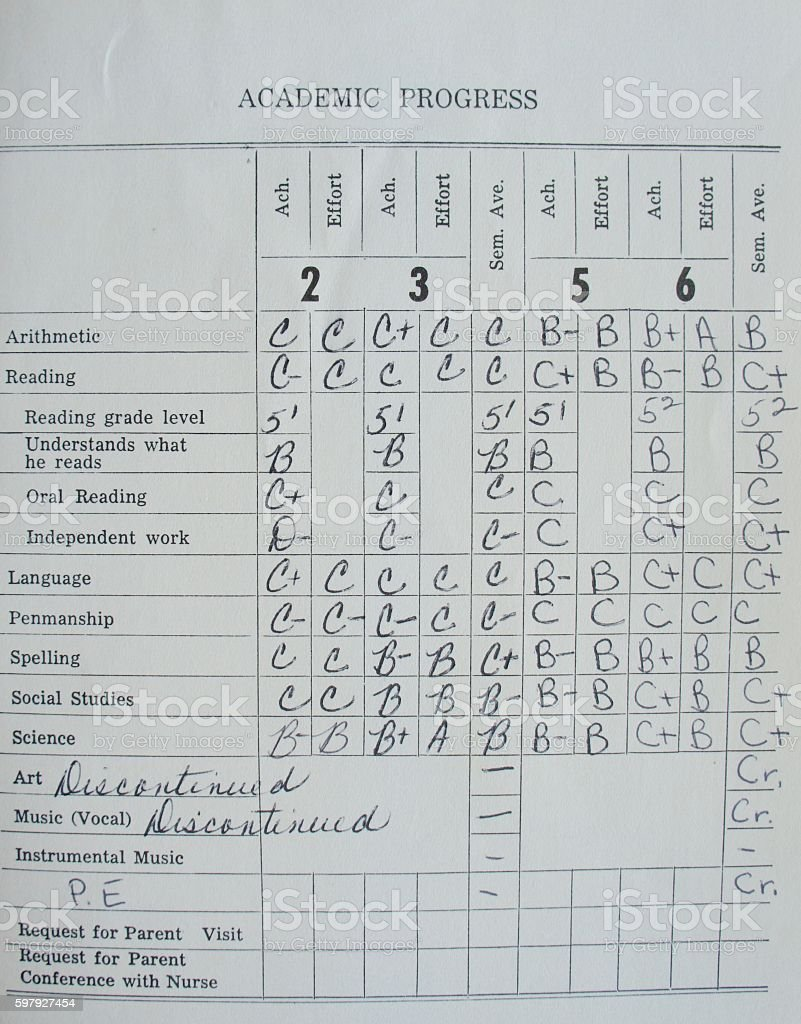 1970's Report Card stock photo