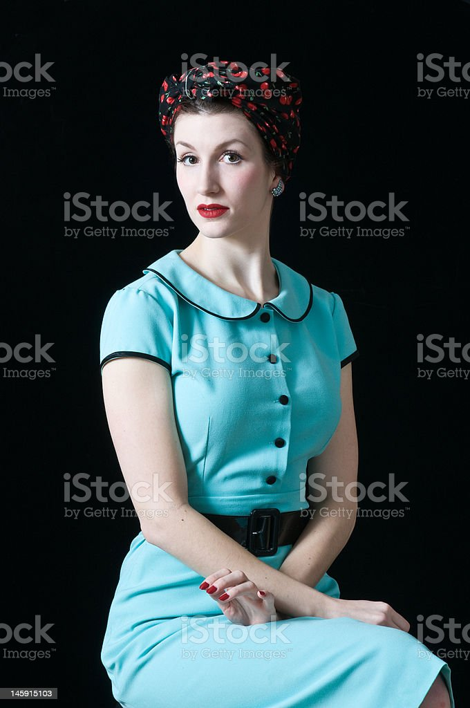 1940's retro look housewife royalty-free stock photo