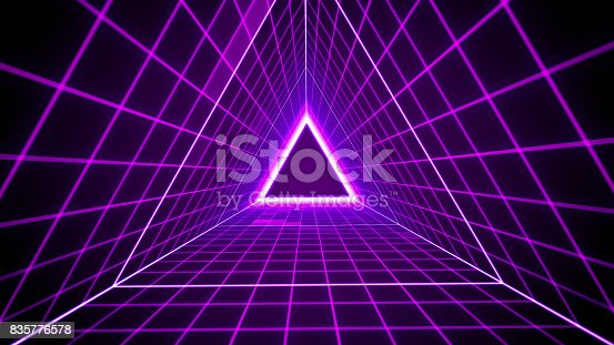 istock 80's retro style background with triangle grid lights 835776578
