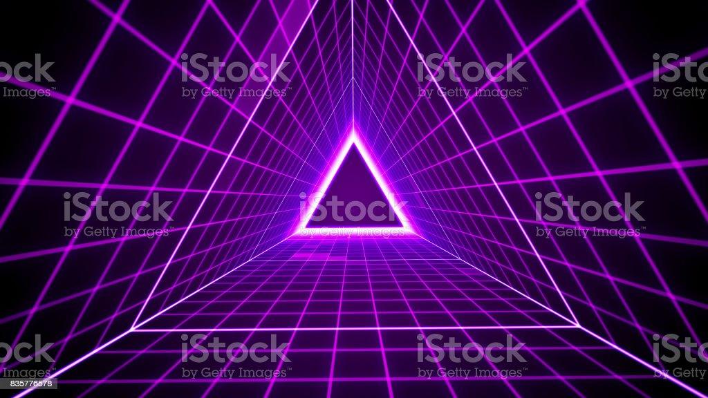 80er Jahre Retro-Stil Hintergrund mit Dreieck-Raster-Leuchten – Foto