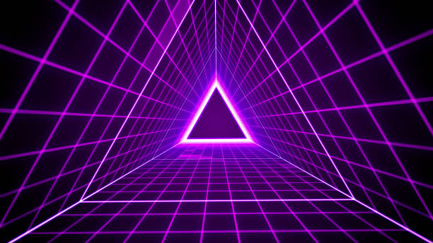 80's retro style background with triangle grid lights stock photo