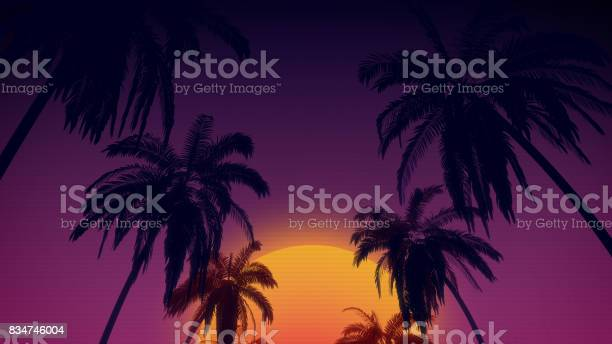 S retro style background with tropical coconut trees and sunset from picture id834746004?b=1&k=6&m=834746004&s=612x612&h=2h9kcyag9ycvqnhio 7 wkkaaqqci6gm7pjl8ig5glq=