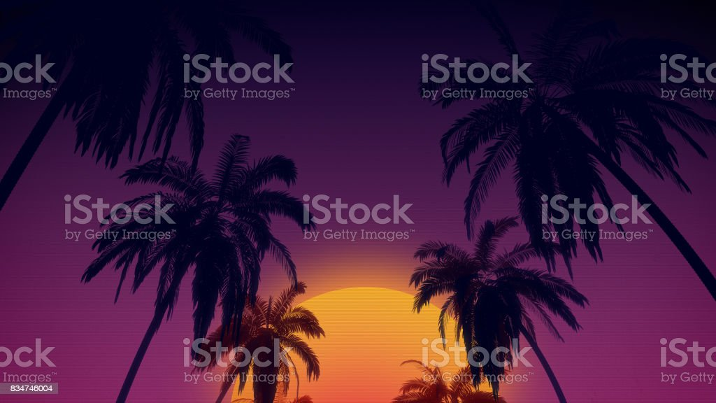 80's retro style background with tropical coconut trees and sunset from 3d render stock photo