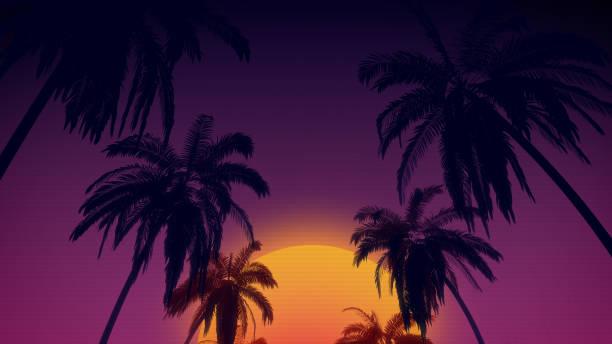 fond style rétro des années 80 avec tropical de cocotiers et de coucher du soleil de rendu 3d - Photo