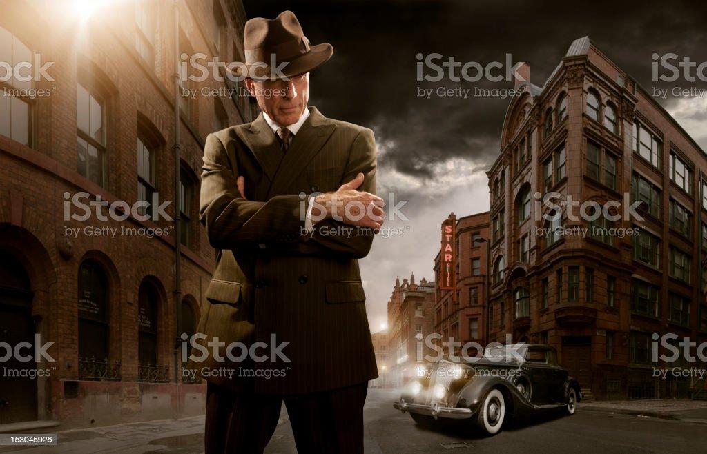 S Stylised Film Noir Gangster Stock Photo
