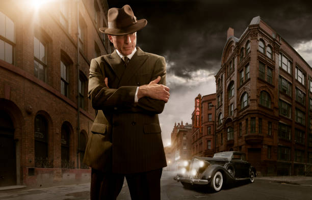 S Stylised Film Noir Gangster Stock Photo
