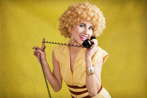 70's Woman Talking On Telephone – Foto