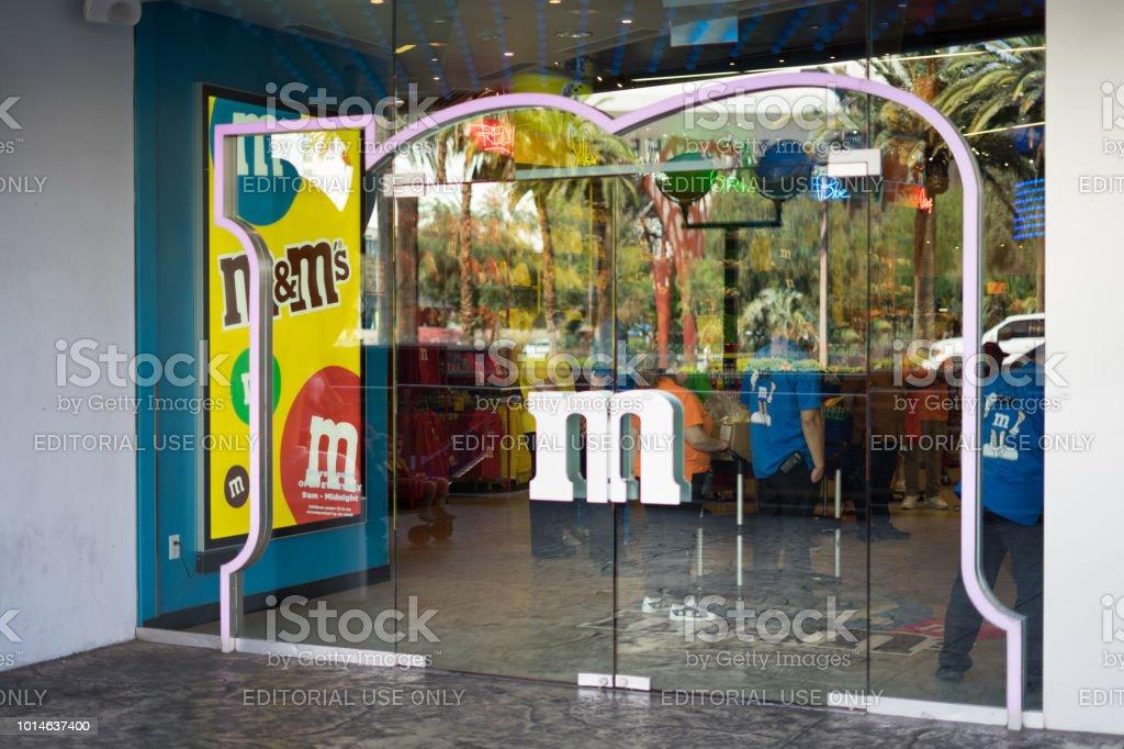 M&M's world in Las Vegas door stock photo