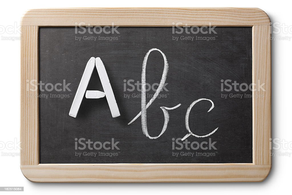 ABC's written on chalkboard royalty-free stock photo