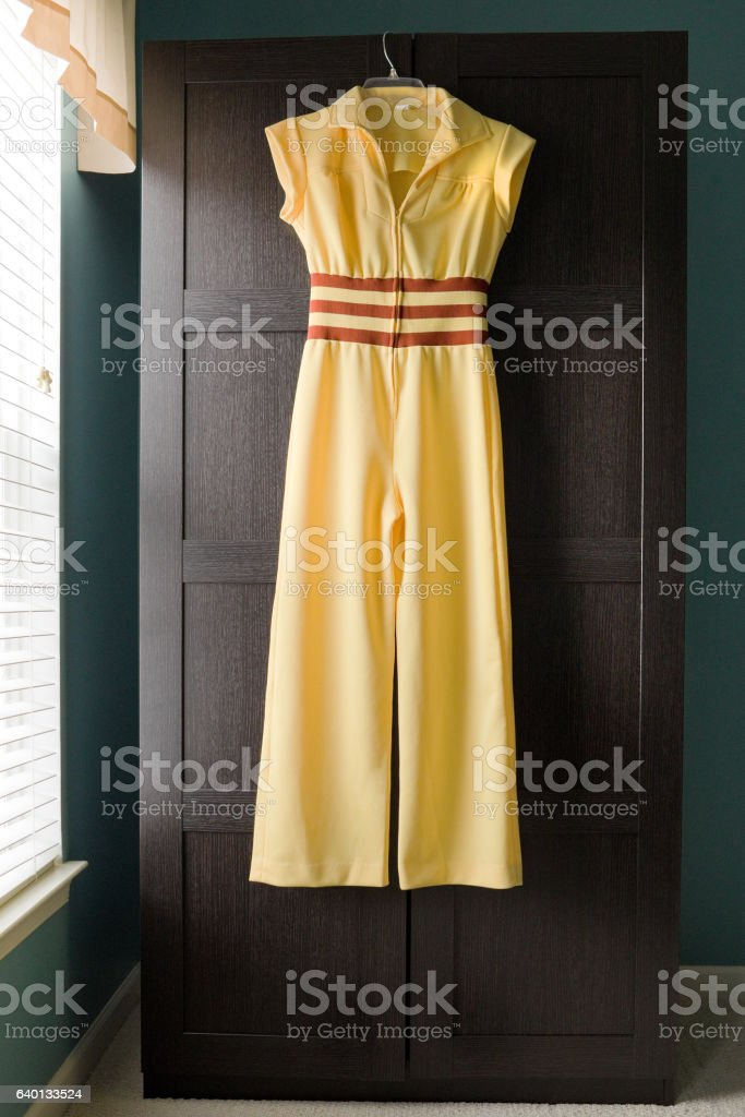 70's Yellow Jumpsuit stock photo