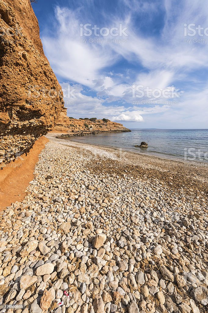 Sa Caleta beach in Ibiza stock photo