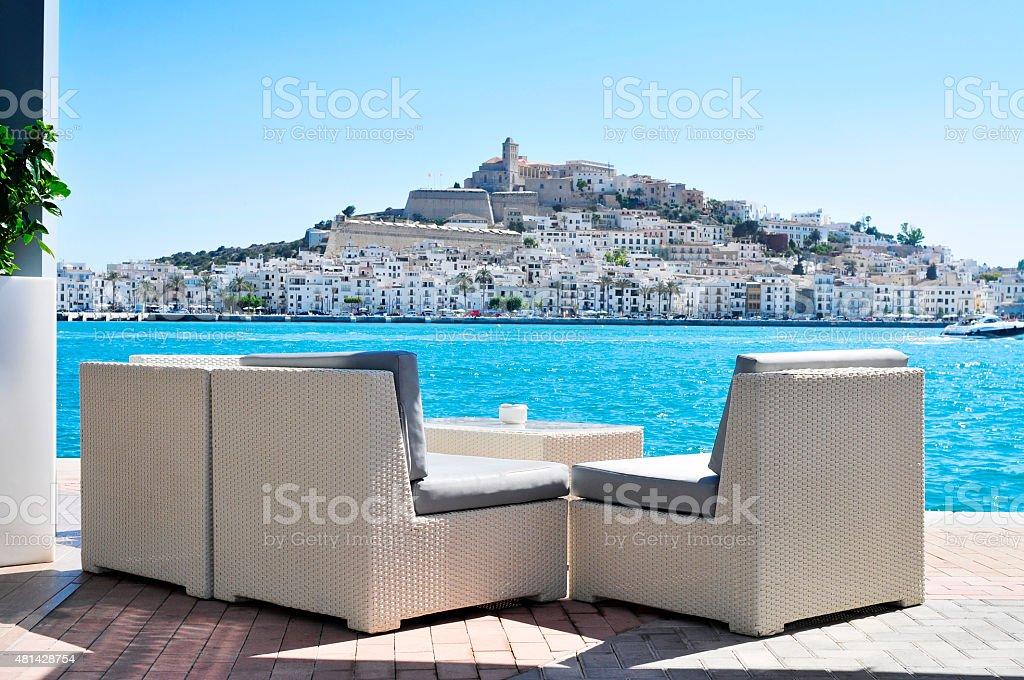 Sa Penya and Dalt Vila districts in Ibiza Town, Spain stock photo