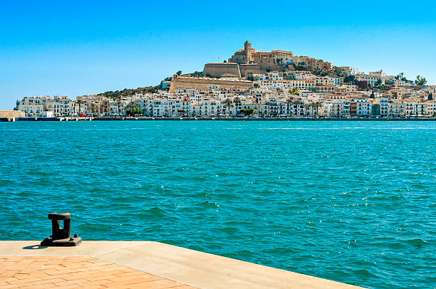 Sa Penya and Dalt Vila districts in Ibiza Town, Spain stock photo