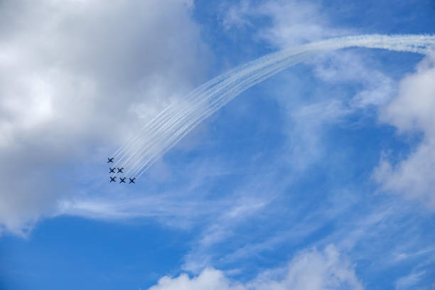 Saab 105, sk60. Swedish high wing, twinjet trainer aircraft. Formation flying. Air show Uppsala, Sweden - August 25, 2018: Saab 105, sk60. Swedish high wing, twinjet trainer aircraft. Formation flying. Air show saab stock pictures, royalty-free photos & images