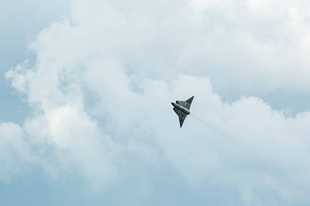 Saab 35 Draken Kallinge, Sweden - June 01, 2014: Swedish Air Force air show 2014 at F 17 Wing. Saab 35 Draken with double delta wing. saab stock pictures, royalty-free photos & images