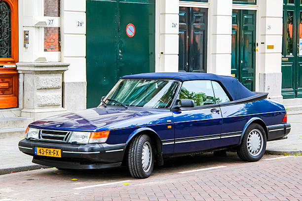 Saab 900 Rotterdam, Netherlands - August 9, 2014: Motor car Saab 900 is parked at the city street. saab stock pictures, royalty-free photos & images