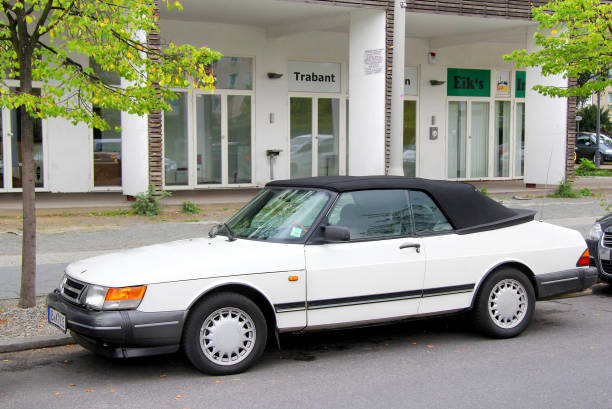 Saab 900 Berlin, Germany - September 12, 2013: Motor car Saab 900 in the city street. saab stock pictures, royalty-free photos & images