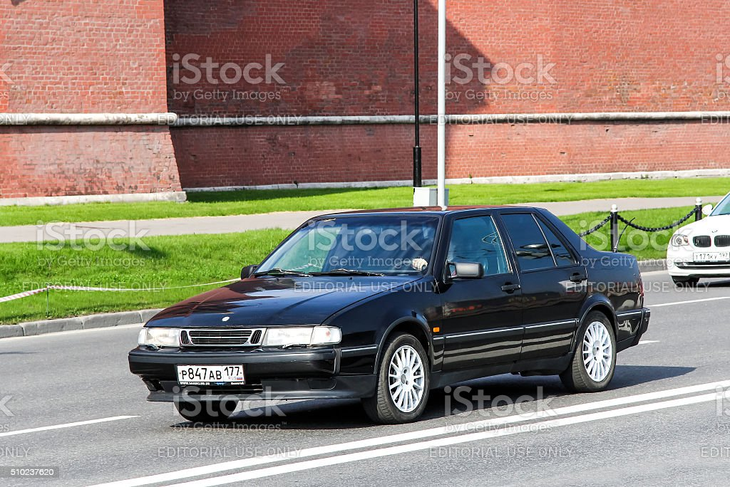 Saab 9000 Moscow, Russia - May 5, 2012: Motor car Saab 9000 drives in the city street. Aero - Car Manufacturer Stock Photo