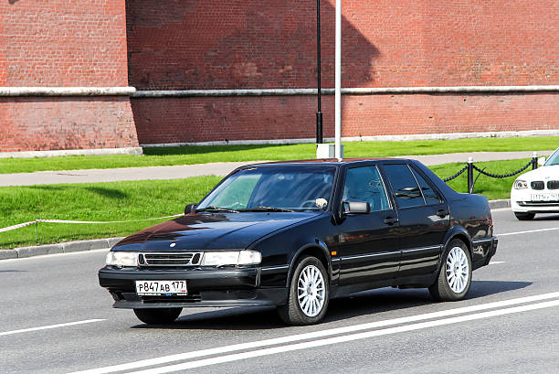 Saab 9000 Moscow, Russia - May 5, 2012: Motor car Saab 9000 drives in the city street. saab stock pictures, royalty-free photos & images