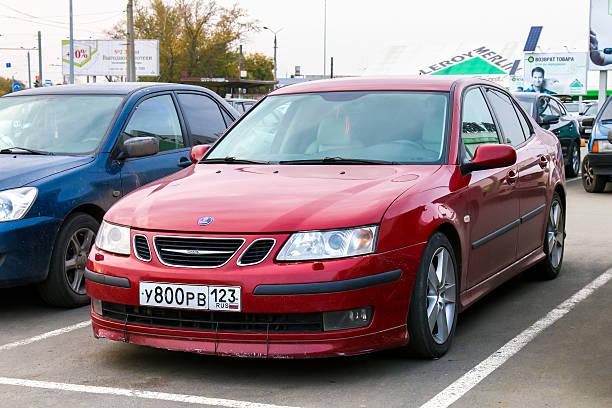 Saab 9-3 Chelyabinsk, Russia - October 1, 2016: Motor car Saab 9-3 is parked in the city street. saab stock pictures, royalty-free photos & images