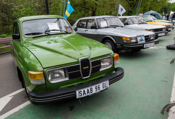 Saab 96 GL MOSCOW, RUSSIA - May 21, 2017. Retro car show exhibion in Sokolniki park. Saab 96 GL and entire line up of SAAB saab stock pictures, royalty-free photos & images
