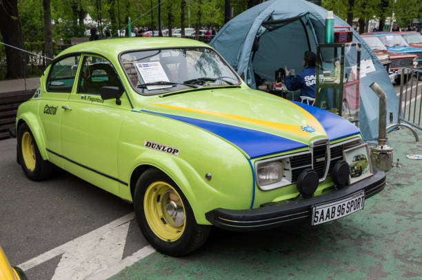 Saab 96 Sport MOSCOW, RUSSIA - May 21, 2017. Retro car show exhibion in Sokolniki park. Saab 96 Sport modification saab stock pictures, royalty-free photos & images
