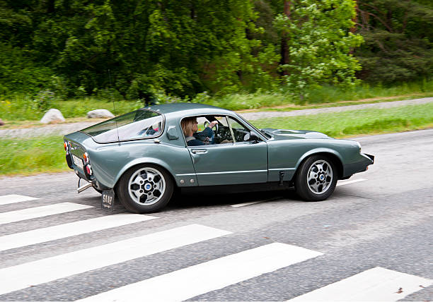 Saab 97 V4 Sonnet  from from 1968 Stockholm, Sweden - June 03,2012: A fully restored Saab Sonett from 1968, in a classic car cavalcade around the small island Djurgarden on the public road in Stockholm Sweden saab stock pictures, royalty-free photos & images