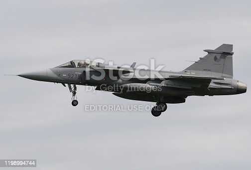istock Saab Gripen from the Czech air force lands during the