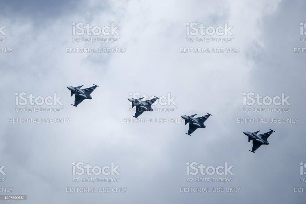 Saab Jas 39 Gripen Multirole Fighter Formation Flying