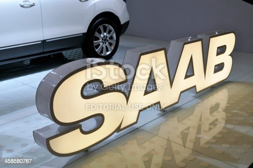 Amsterdam, The Netherlands - April 12, 2011: Saab brand name on display during the AutoRAI motorshow taking place between April 12 - 23, 2011 in Amsterdam, The Netherlands.