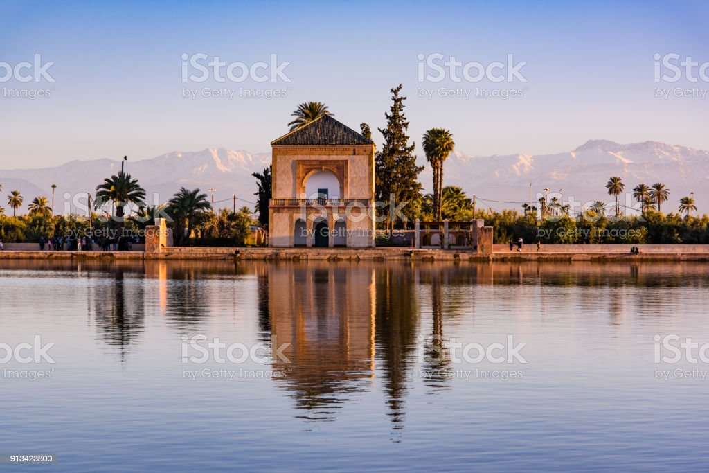 Saadian pavilion,Menara gardens and Atlas in Marrakech, Morocco, Africa stock photo