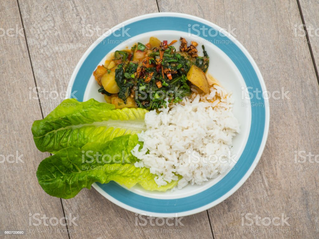 Saag Aloo - Indian vegetable curry stock photo