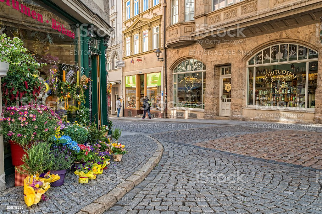 Saalstrasse in Jena, Germany - historic center stock photo