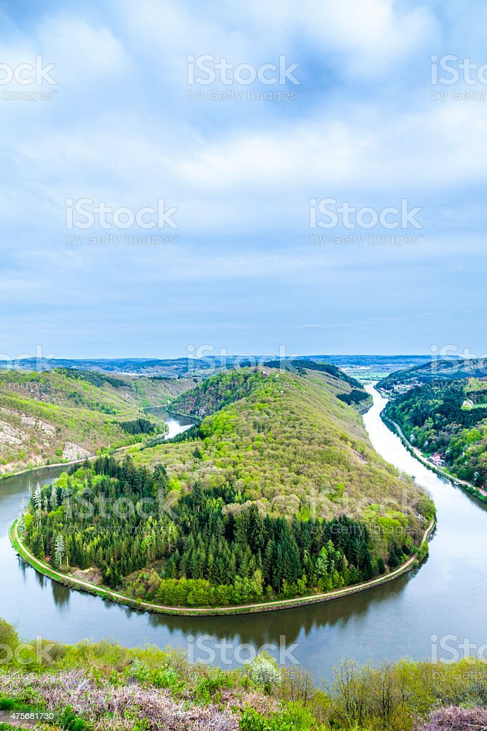 Saar loop at Mettlach. A famous view point. stock photo