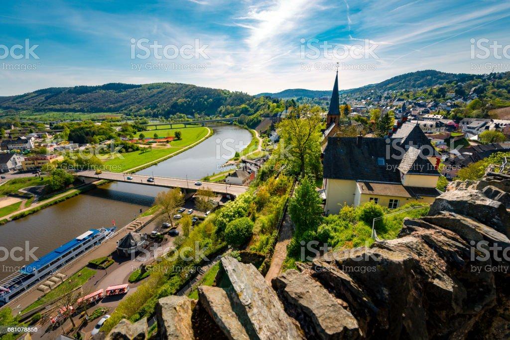 saar river and church at city Saarburg stock photo