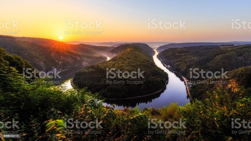 Saar river bend near Mettlach stock photo