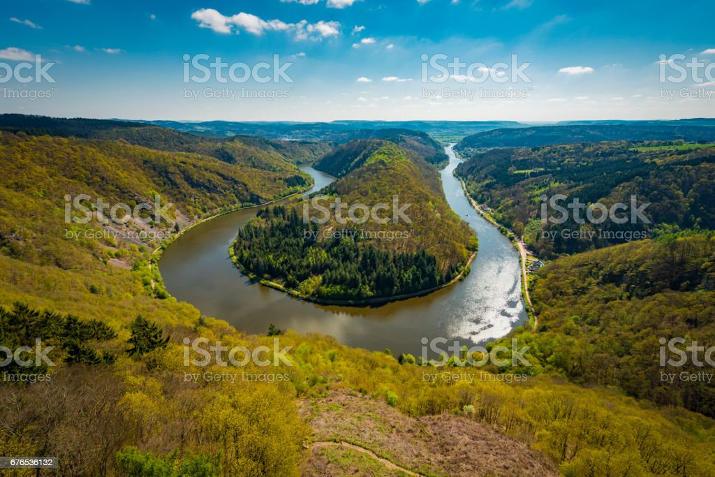 Saar River in Germany stock photo