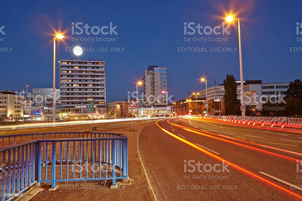 Saarbruecken - City at the blue hour stock photo