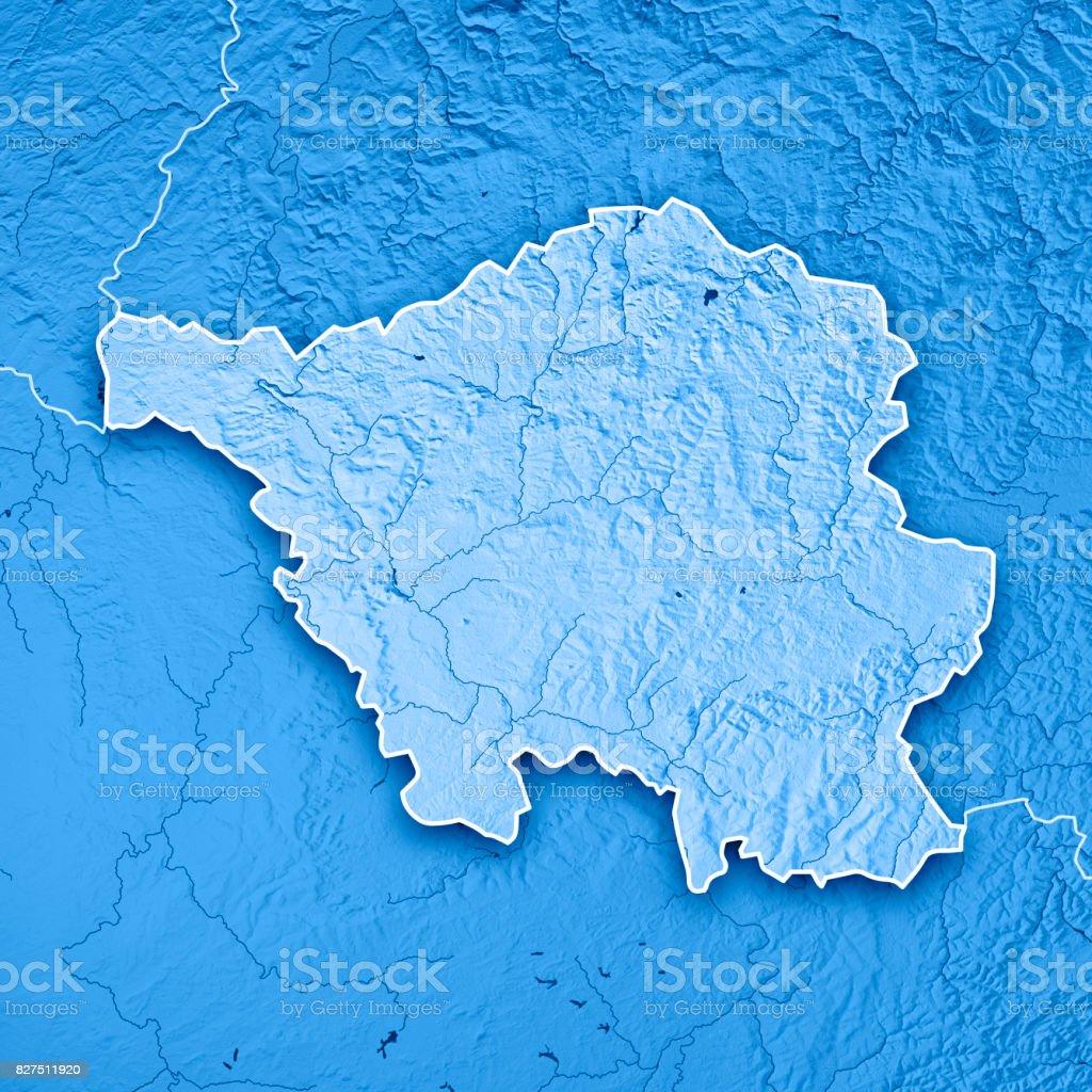 Topographic Map Germany.Saarland Bundesland Germany 3d Render Topographic Map Blue Border