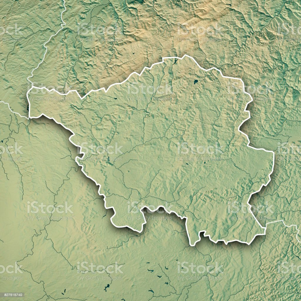 Saarland Bundesland Germany 3d Render Topographic Map Border Stock ...