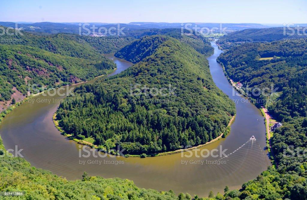 Saarschleife der Saar bei Orscholz mit Blick auf gesamte Saarbiegung in Saar-Lor-Lux Saarland Deutschland Europa stock photo
