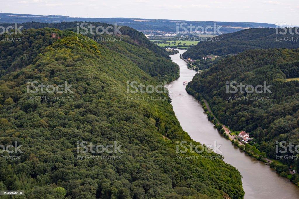 Saarschleife near Mettlach city, Germany, Saarland stock photo