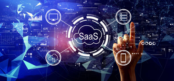 SaaS - software as a service concept with hand pressing a button