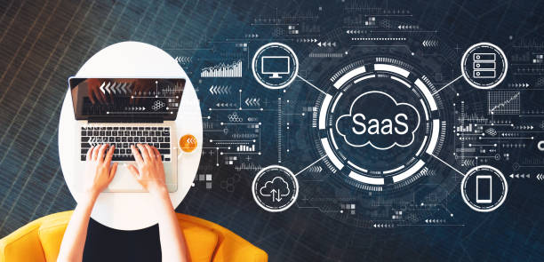 SaaS - software as a service concept with person using a laptop