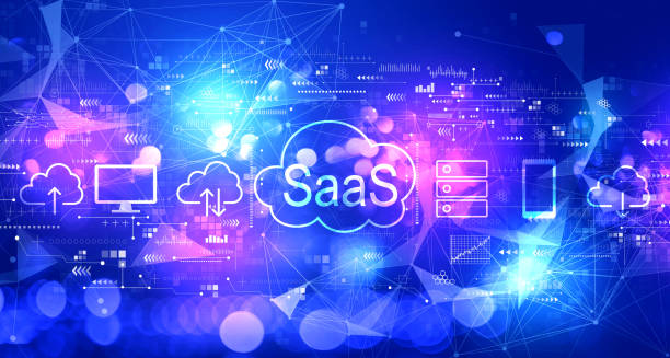 SaaS - software as a service concept with technology light background