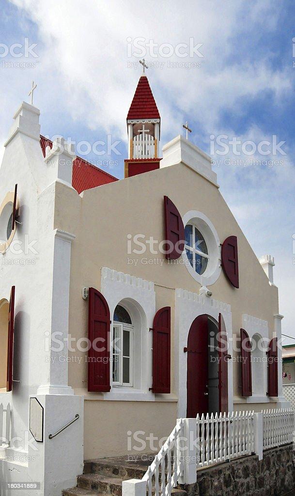 Saba: facade of St Paul's Conversion Catholic church stock photo