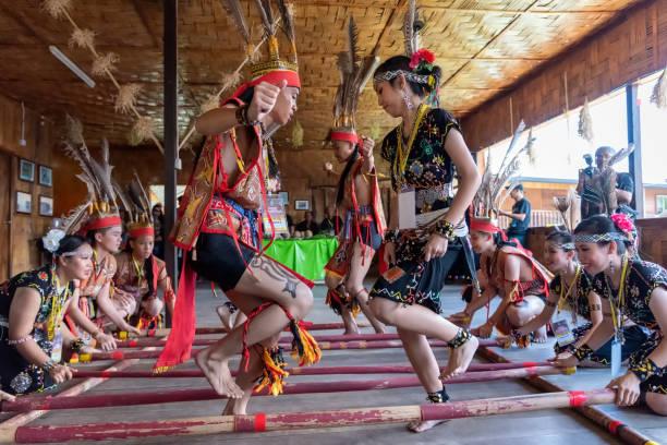 Sabah Borneo Magunatip bamboo dancing performance